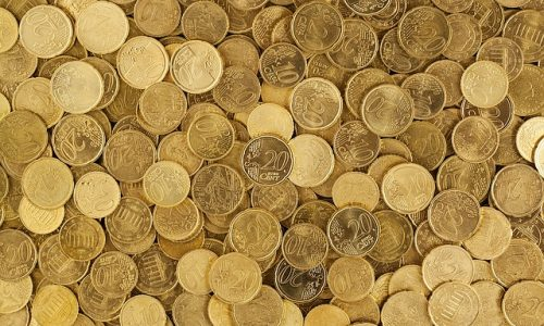 Coins scattered around